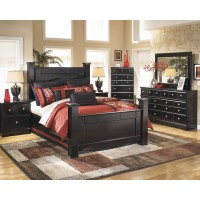 Shay 8 Pc. Bedroom - Dresser, Mirror, Chest, Queen Poster Bed & Nightstand