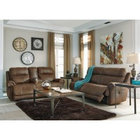 Austere - Brown - 2 Seat Reclining Sofa & DBL Rec Loveseat w/Console