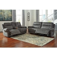 Austere - Gray - 2 Seat Reclining Sofa & DBL Rec Loveseat w/Console