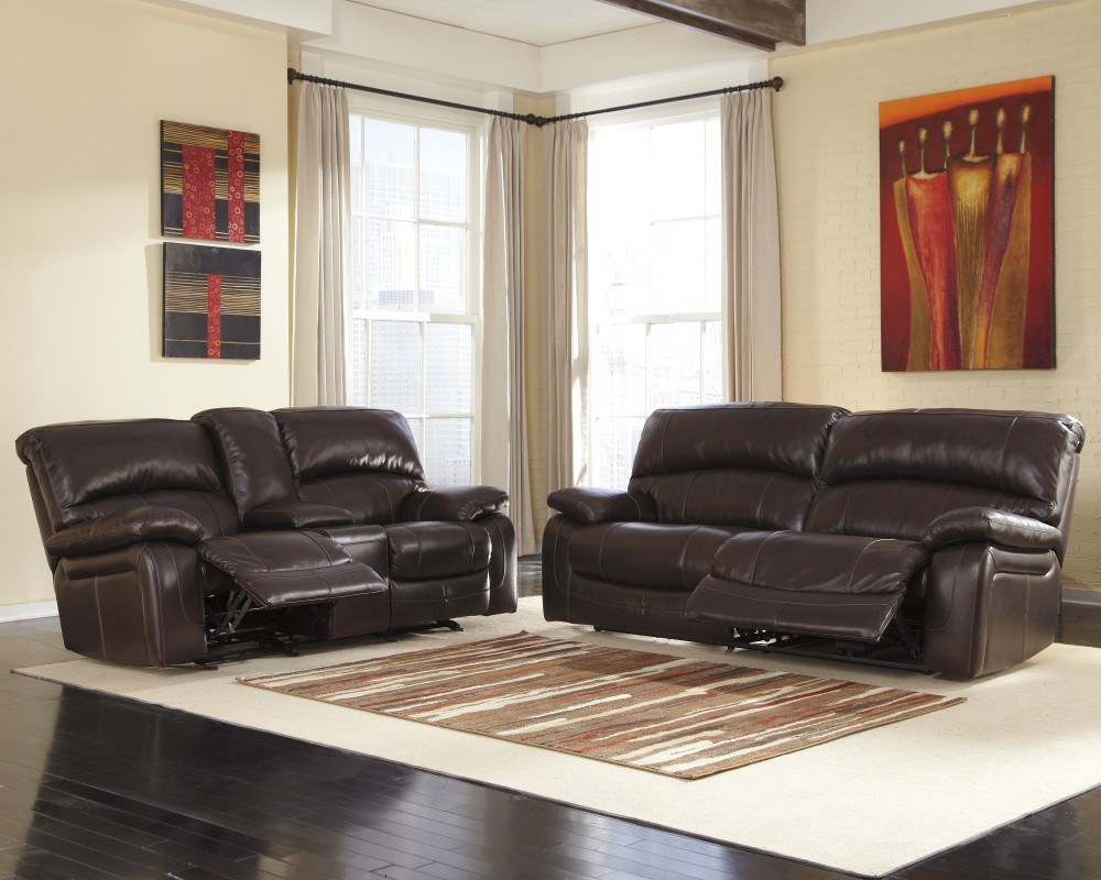 Damacio Dark Brown Reclining Sofa Loveseat U98200 81 43
