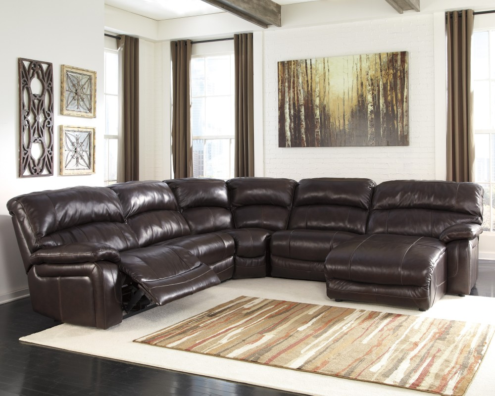 Damacio - Dark Brown - 6 Pc. RAF Press Back Chaise Sectional