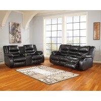 Linebacker DuraBlend - Black - Reclining Sofa & Loveseat