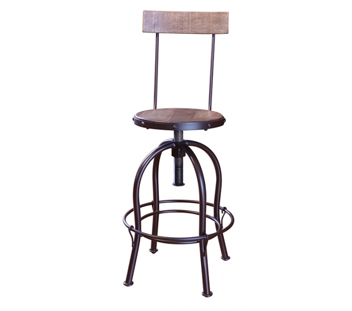 Wood Seat/Back Adjustable Height Swivel Chair