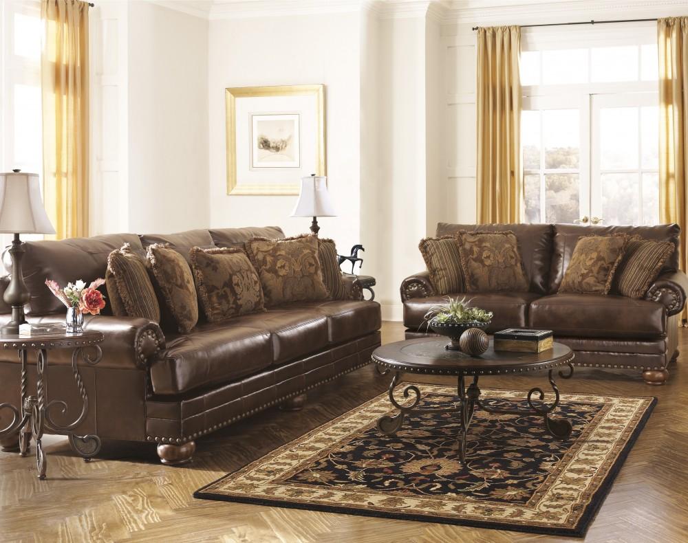 Chaling DuraBlend - Antique - Sofa & Loveseat - Chaling DuraBlend - Antique - Sofa & Loveseat Leather Living Room
