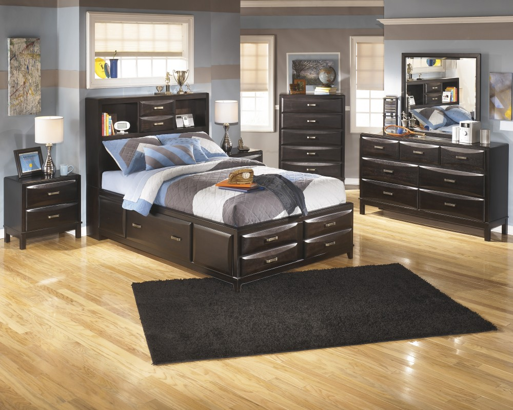 Kira Dresser, Mirror & Full Bed with Storage
