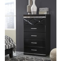 Fancee - Black - Five Drawer Chest