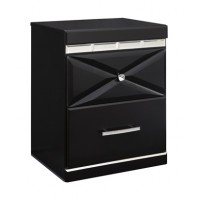 Fancee - Black - Two Drawer Night Stand
