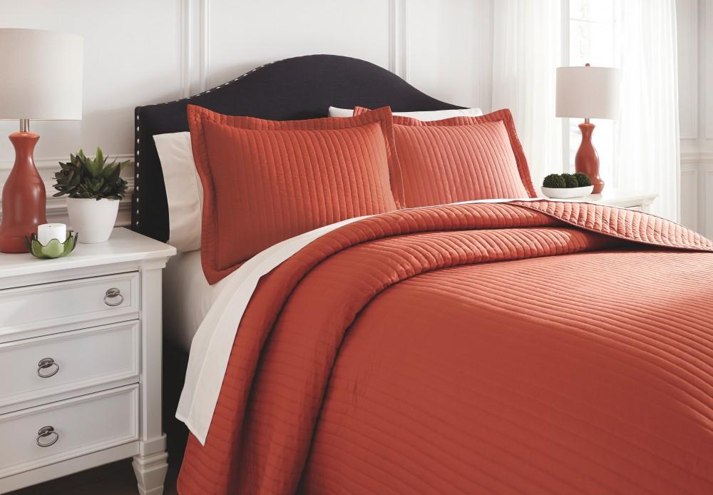 Raleda Orange King Comforter Set Q496003k Bedding