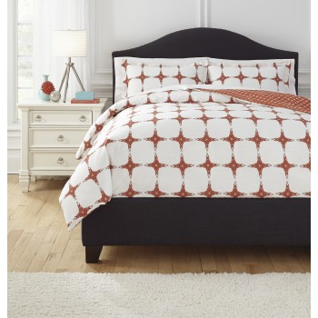 Cyrun - Orange - Queen Duvet Set