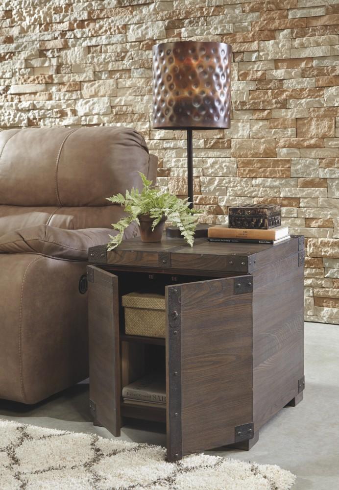Pruitts Bedroom Furniture: Burladen - Grayish Brown - Square End Table