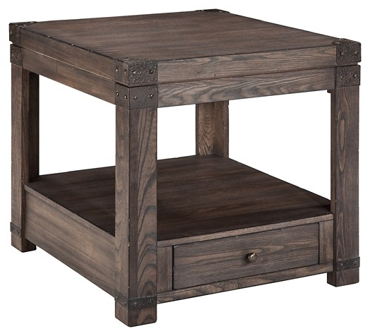 Burladen - Grayish Brown - Rectangular End Table