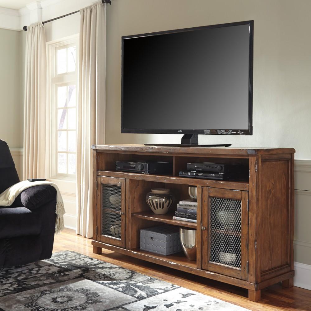 Tamonie - Rustic Brown - XL TV Stand w/Fireplace Option