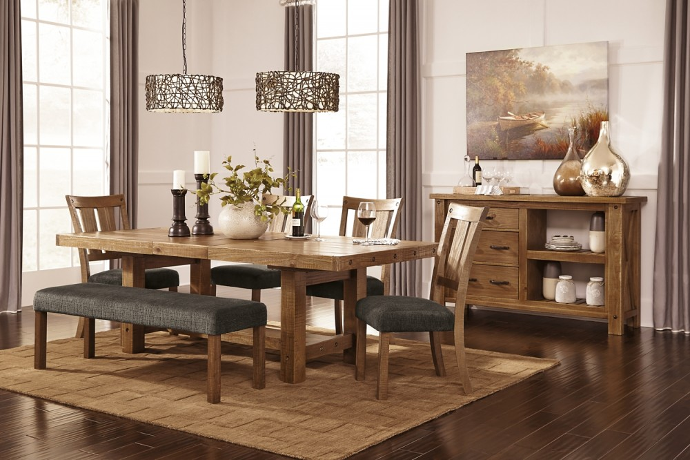Tamilo gray brown large uph dining room bench d714 - Ashley furniture bedroom benches ...