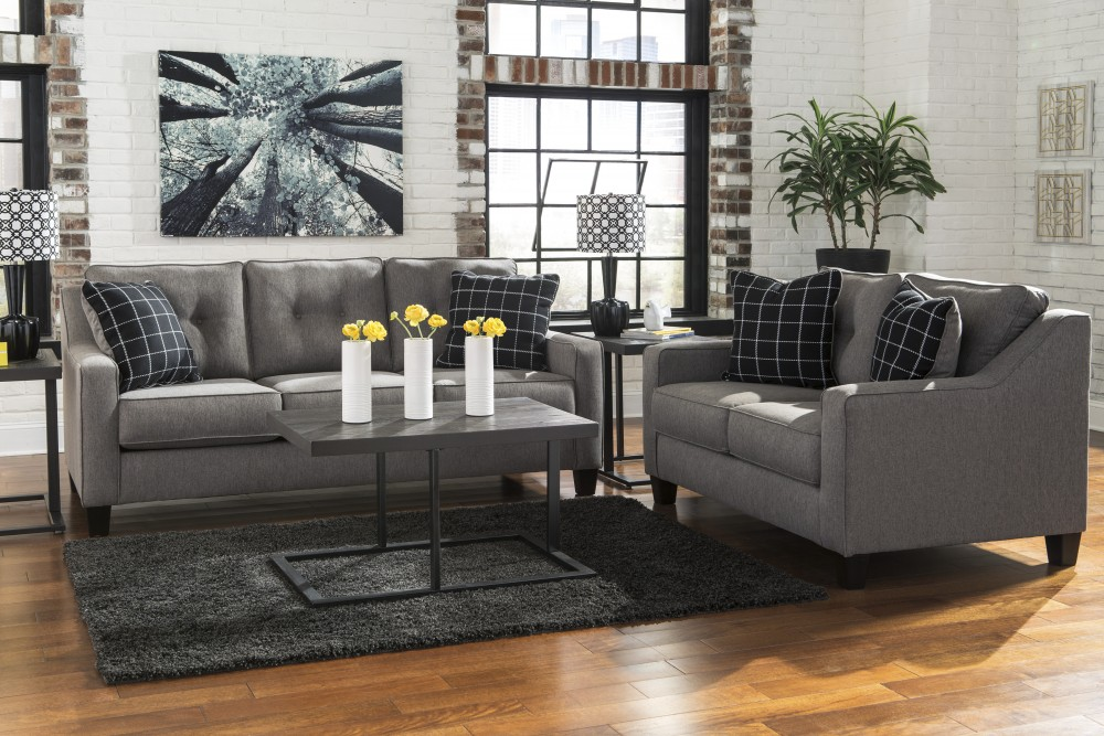 Brindon Charcoal Sofa Loveseat 53901 38 35 Living Room