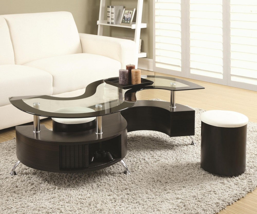 Serpentine Coffee Table with Stools