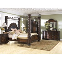 North Shore 8 Pc. Bedroom - Dresser, Mirror, Cal King Poster Bed with Canopy and Nightstand