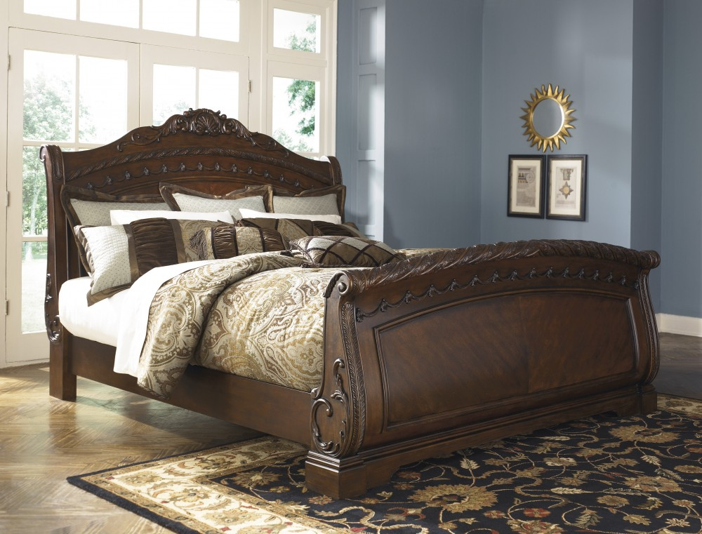 North Shore Queen Sleigh Bed B553 74 75 77 Complete Beds Bi Wize