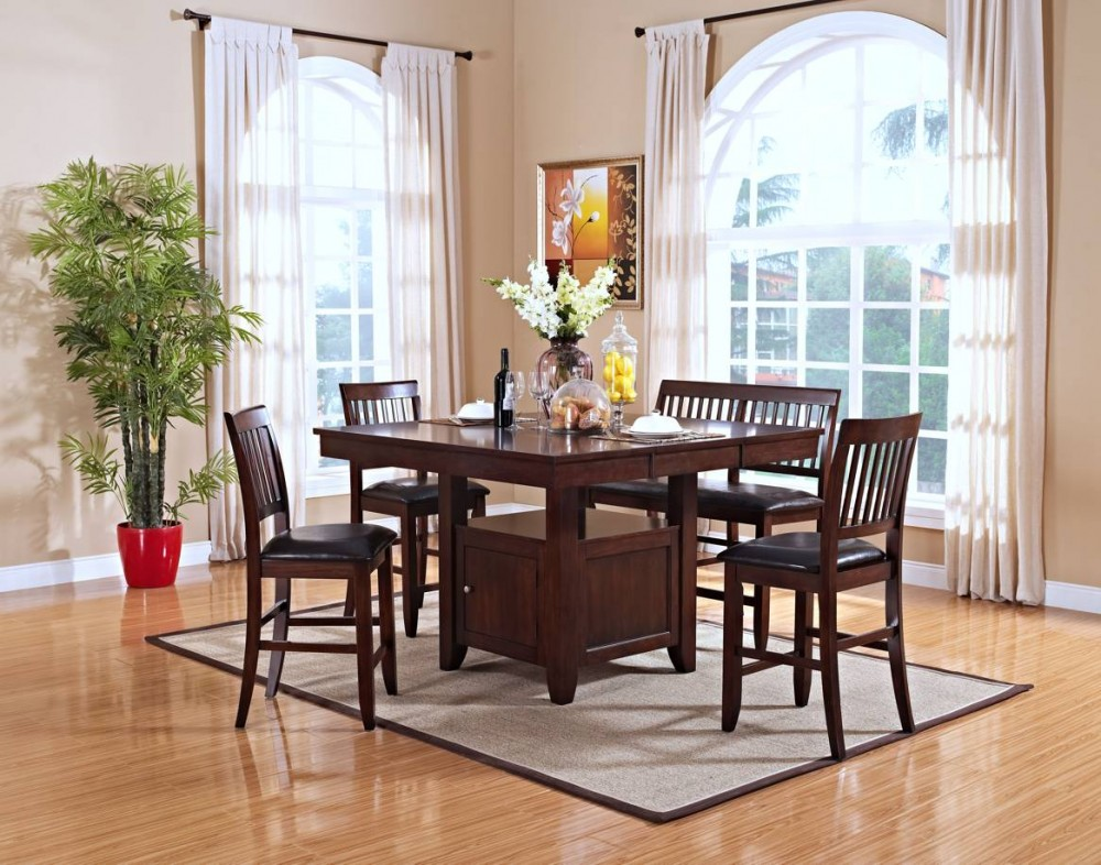 Kaylee Tudor Brown Counter Height Dining Set