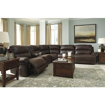 Luttrell - Espresso 6 Pc. Power Reclining Sectional