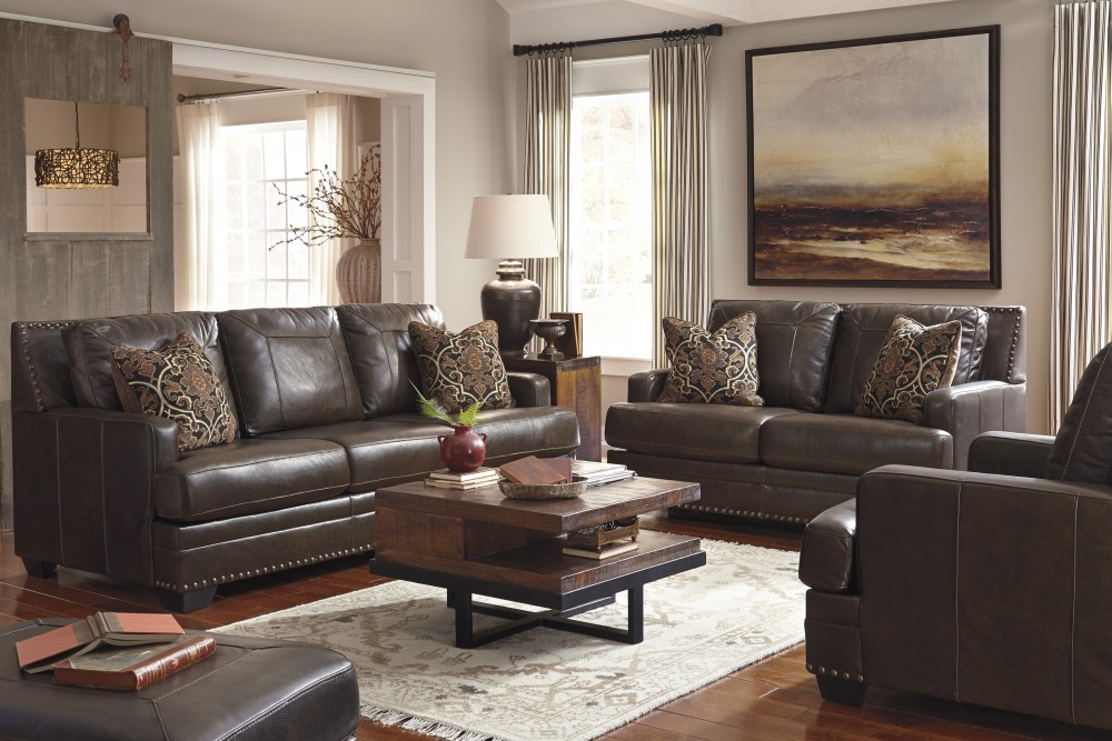 Corvan - Antique - Sofa & Loveseat - Corvan - Antique - Sofa & Loveseat 69103/38/35 Leather Living