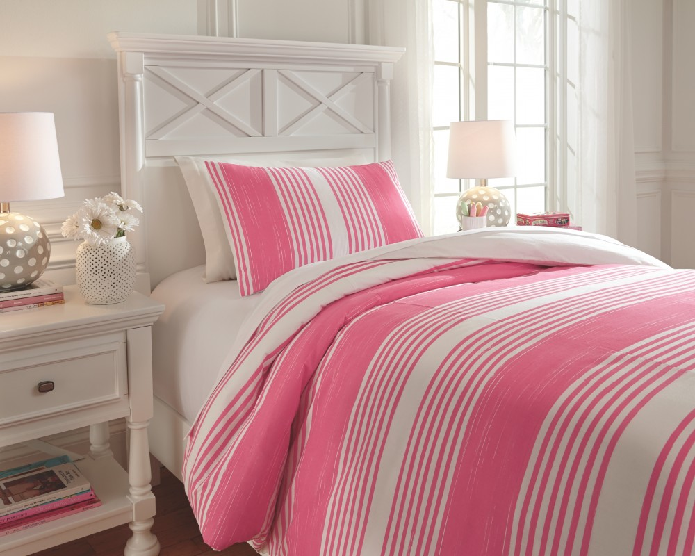 Taries - Pink - Twin Duvet Set