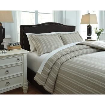 Navarre - White/Natural - King Duvet Set