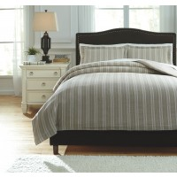 Navarre - White/Natural - Queen Duvet Set