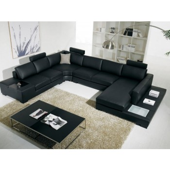 Divani Casa Modern Leather Sectional with Light