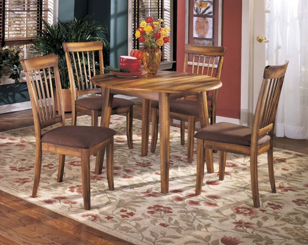 Berringer Round Dining Room Drop Leaf Table & 4 UPH Side Chairs ...