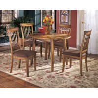Berringer Round Dining Room Drop Leaf Table & 4 UPH Side Chairs