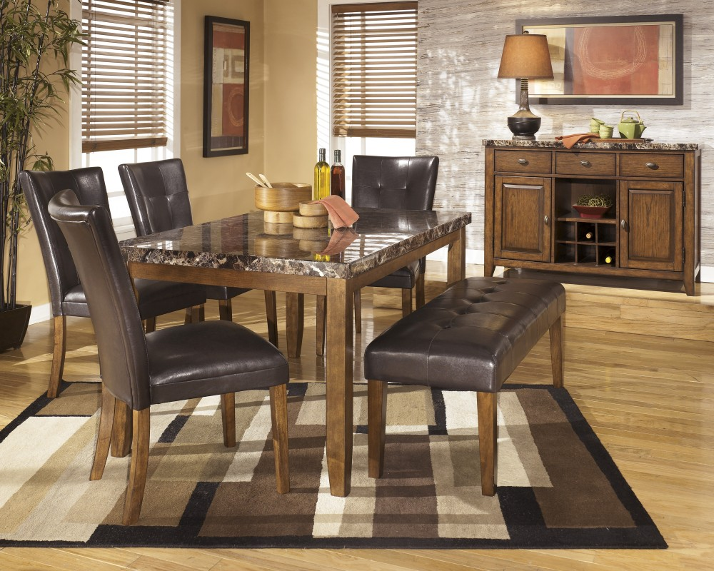 Lacey Rectangular Dining Room Table, 2 Side Chairs & Large UPH Bench ...
