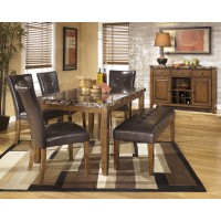 Lacey Rectangular Dining Room Table, 4 UPH Side Chairs & Large UPH Bench