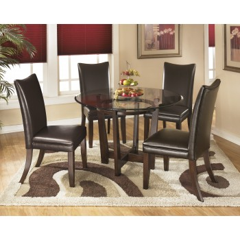 Charrell Round Dining Room Table & 4 Medium Brown UPH Side Chairs