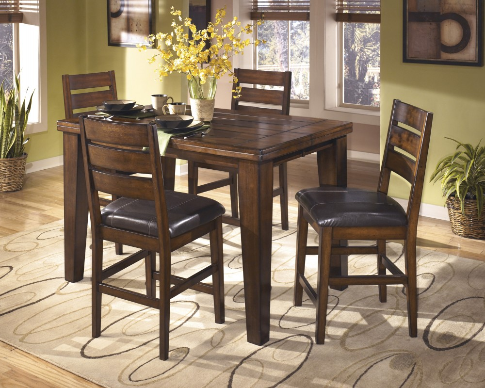 Larchmont Butterfly EXT Table U0026 4 UPH Bar Stools