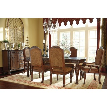 North Shore RECT Dining Room EXT Table, 4 UPH Side Chairs & 2 UPH Arm Chairs