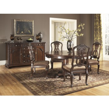 North Shore Round DRM Table & 4 UPH Side Chairs