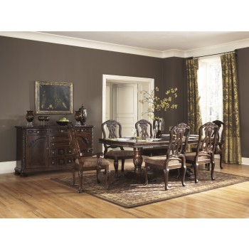 North Shore RECT Pedestal EXT Table & 6 UPH Side Chairs