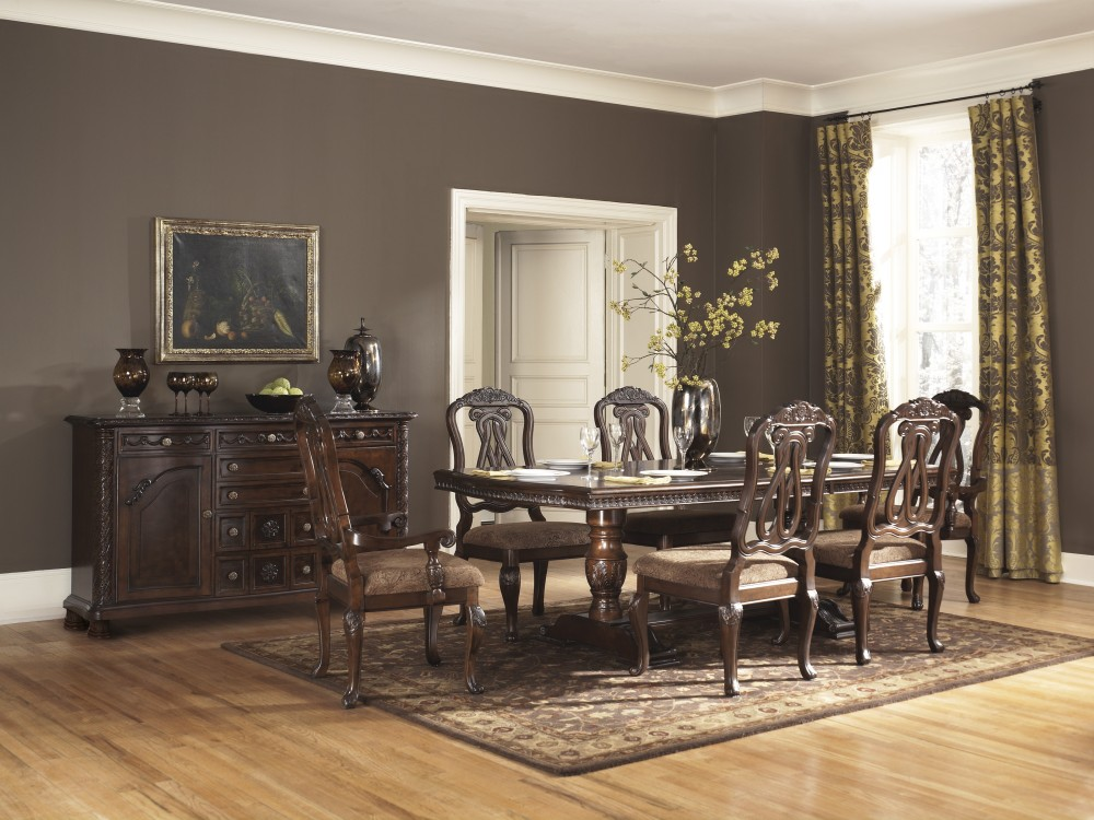 North Shore Rect Pedestal Ext Table 6 Uph Side Chairs D553 03 6