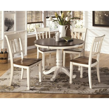 Whitesburg Round Dining Room Table & 4 Side Chairs