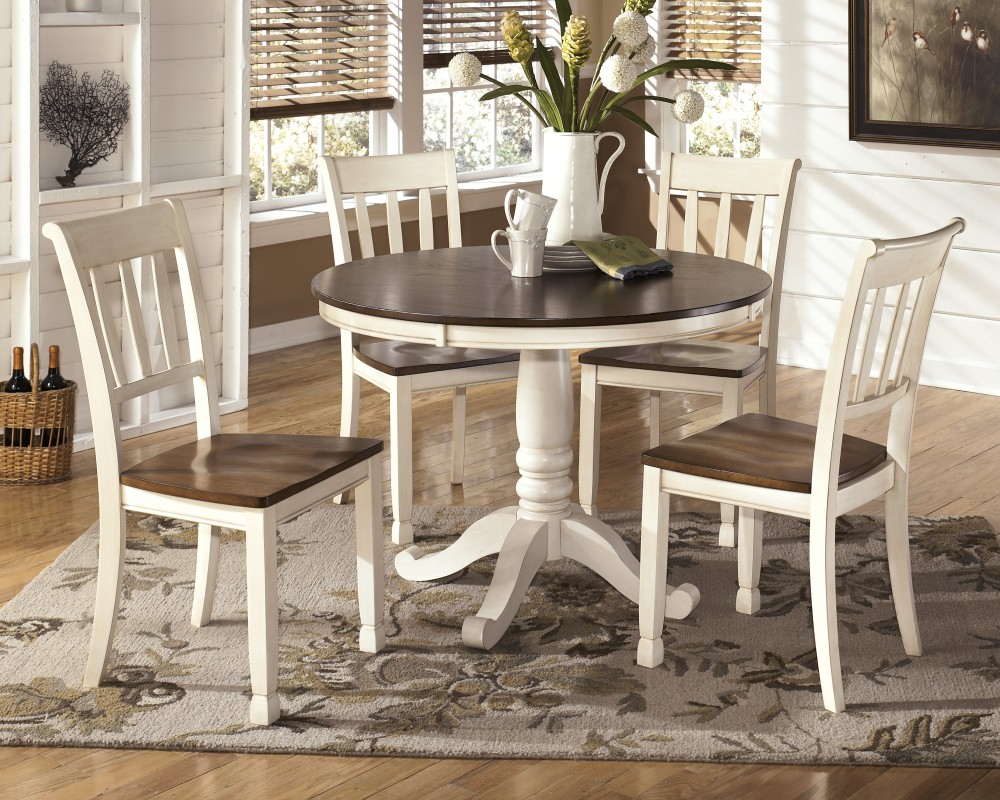 Whitesburg round dining room table 4 side chairs