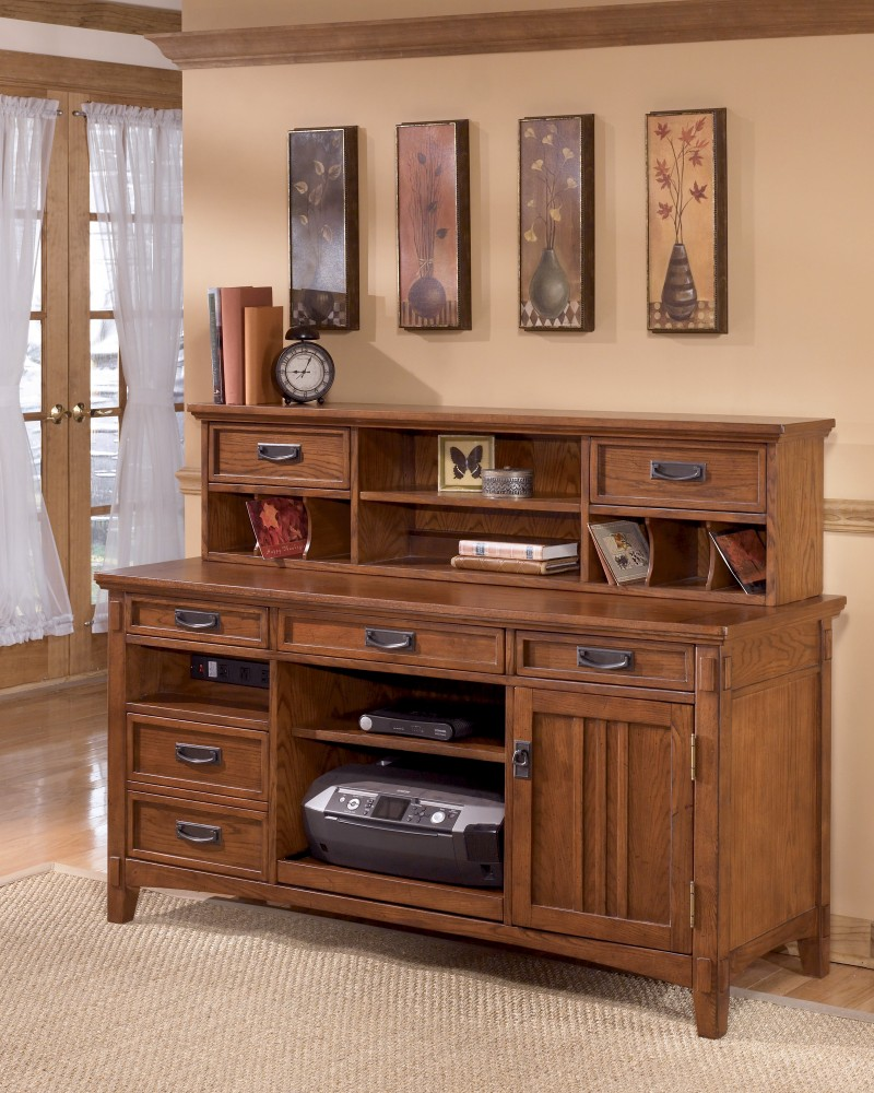 Cross Island Large Credenza With Short Desk Hutch | Home Office Groups |  Furniture Bargains