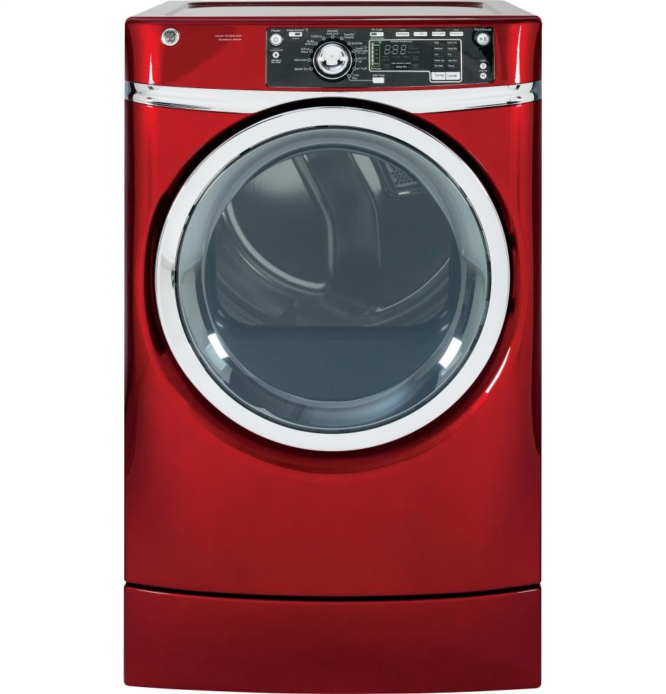 GENERAL ELECTRIC GE(R) 8.3 cu. ft. capacity RightHeight Design Front Load gas dryer with steam