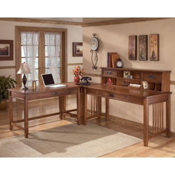 Cross Island Desk with Corner Table and Hutch