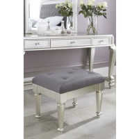 Coralayne - Silver - Upholstered Stool (1/CN)