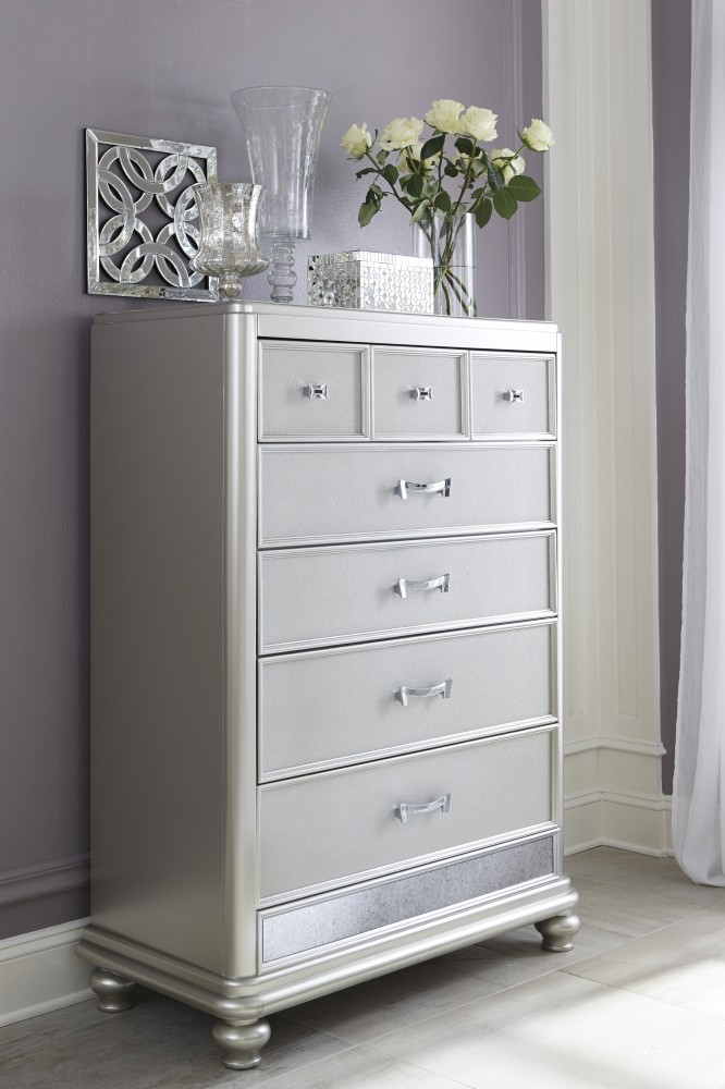 Coralayne - Silver - Five Drawer Chest