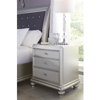 Coralayne - Silver - Three Drawer Night Stand
