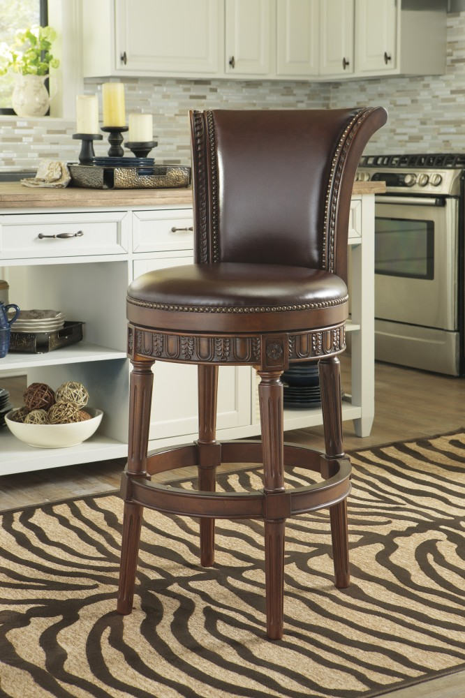 North Shore   Dark Brown   Tall UPH Swivel Barstool(1/CN)