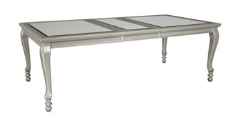 dining room table for 8 narrow coralayne silver finish rect dining room ext table d65035