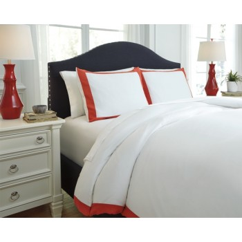 Ransik Pike - Coral - Queen Duvet Set