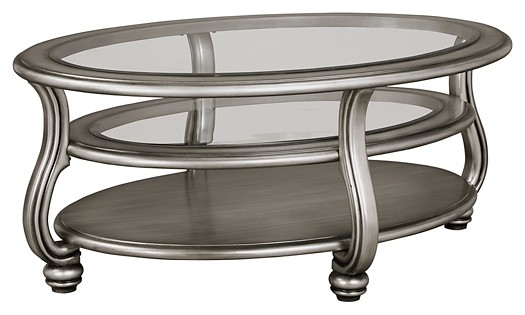 Coralayne - Silver Finish - Oval Cocktail Table